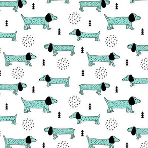 Adorable little doxie dachshund puppy cute kids dogs theme scandinavian style pastel mint blue boys