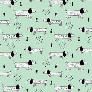 Adorable little doxie dachshund puppy cute kids dogs theme scandinavian style mint gender neutral boys and girls