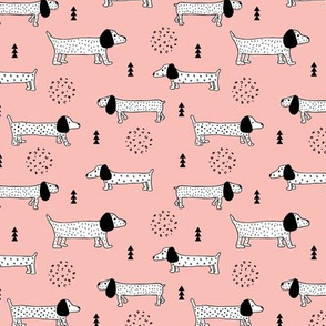 Adorable little dachshund puppy cute kids dogs theme scandinavian style pastel pink for girls