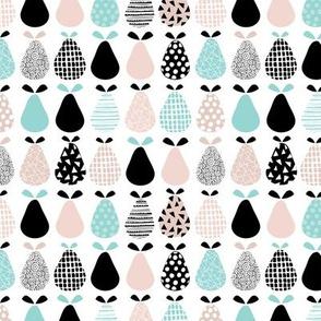 Cool pear garden geometric memphis scandinavian style fruit illustration gender neutral beige blue