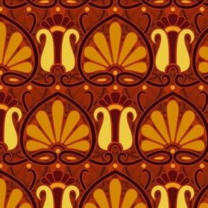 art nouveau papyrus, amber