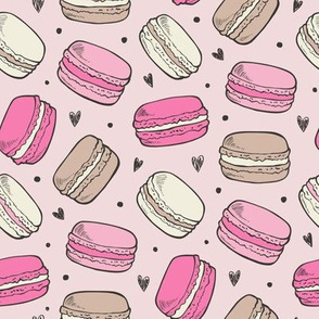 Macarons Sweets Candy on Pink