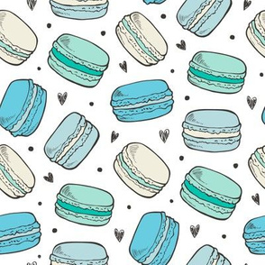 Macarons Sweets Candy in Mint Green Blue