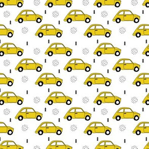 Old vintage oldtimer classic FIAT 500 italian car scandinavian kids design black and white gender neutral mustard yellow XS