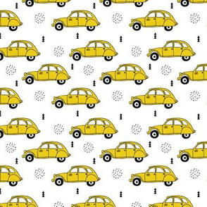 Cool vintage oldtimer cars paris collection geometric scandinavian illustration design for kids mustard yellow XS