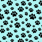 Doggie Paws on Blue - Small