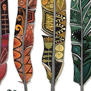 boho rainbow feathers