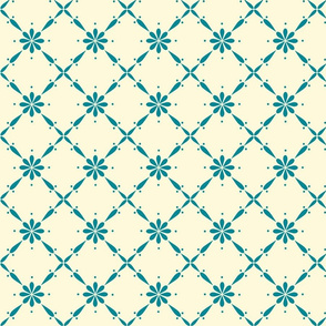 Charlotte Diagonal Floral Cream and Teal