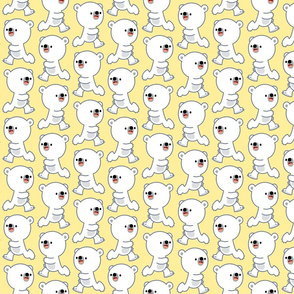Playful Little Polar Bears Yellow by Cheerful Madness!!