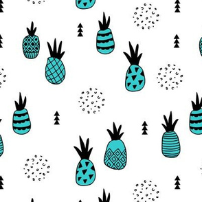 Trendy summer spring geometric pineapple fruit scandinavian style blue