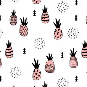 Trendy summer spring geometric pineapple fruit scandinavian style pastel pink