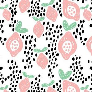 Cool scandinavian abstract topical fruit summer spring fabric mint pink XL