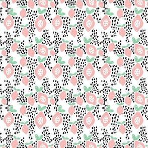 Cool scandinavian abstract topical fruit summer spring fabric mint pink XS