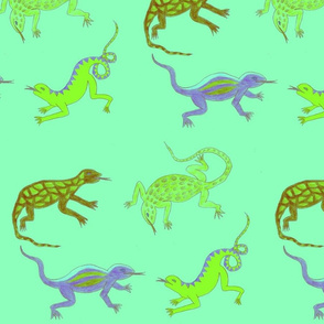 Turqouise Lizards by Sara Aurora Waters