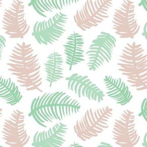 Pastel summer colors leaf illustration garden pattern beige mint green