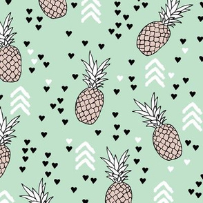 Tropical mint green and beige pineapple summer fruit geometric arrow pattern print