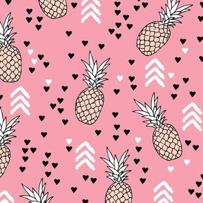 Tropical pink and soft coral pineapple summer fruit geometric arrow pattern print