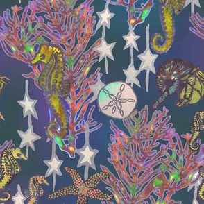 Seahorses Symphony on the Reef Blue