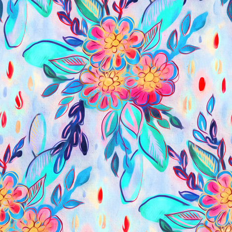 pink, turquoise, lavender messy painted bouquet fabric