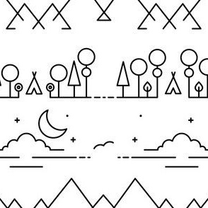 Solitude - Tipi Landscape with Mountain Range and Night Sky
