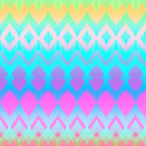 Neon Ombre Ikat and Chevron Stripes