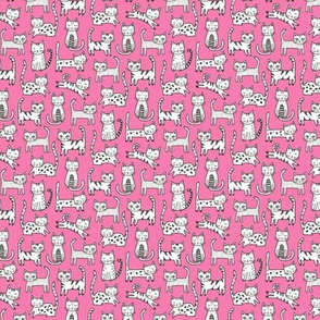 Cats Black&White with Stripes Dark Pink Tiny Small