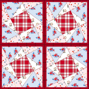Vintage Cabin Twisted Star Cheater Quilt