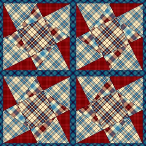 Cabin Plaid Twisted Star Cheater Quilt