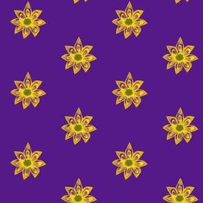 Golden Star Flowers on Purple