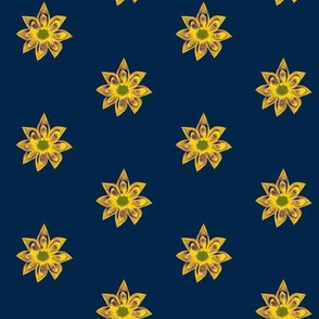 Golden Star Flowers on Night Sky Navy