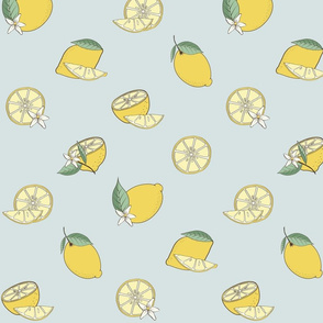 Lemon Fabric Design Blue Background