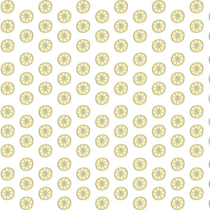 Simple 1 inch wide Lemon Fabric White Background