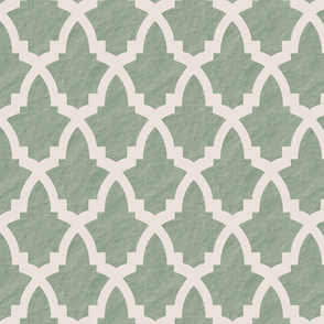 Morrocan Tile Green Tile on Cream with Texture
