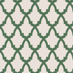 Moroccan Tile Cream Tile on Green