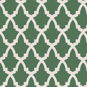 Moroccan Tile Green Tile on Cream