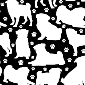 "Pugs n Paws on Black - Large (3"")"