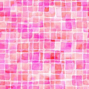 double watercolor squares - magenta and red