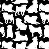 "Pug Silhouettes on Black - Small (2"")"