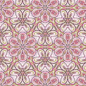 Rose Pink and Moss Green Floating Soft Flowers