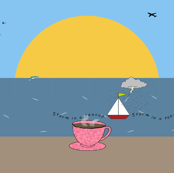 Storm in a teacup on the beach