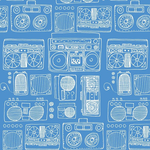 Drawing of Boom Boxes (white on bright blue)