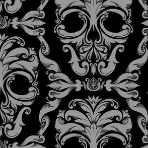 Scrollwork Skulls - small - gray & black