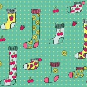 fruit socks in teal!