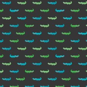 Cute crocodile jungle animal alligator kids animals illustration pattern design in green and blue dark XS