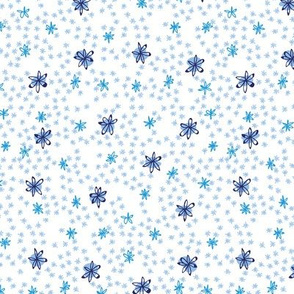 Flowers in Blue on White