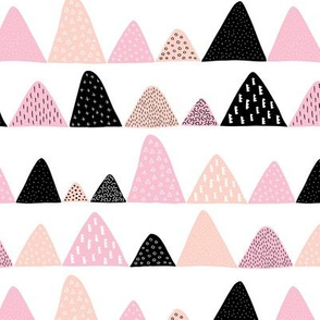 Abstract textured mountain range winter woodland abstract triangles scandinavian style fabric beige pink