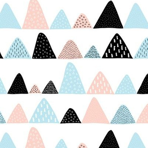 Abstract textured mountain range winter woodland abstract triangles scandinavian style fabric nude baby blue