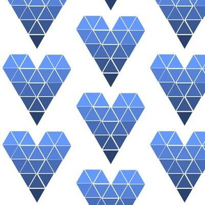 Blue Ombre Geometric Hearts