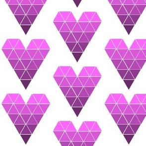 Purple Ombre Geometric Hearts