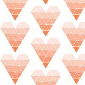 Coral Ombre Geometric Hearts